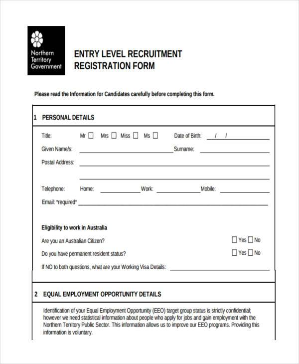 Employment job registration