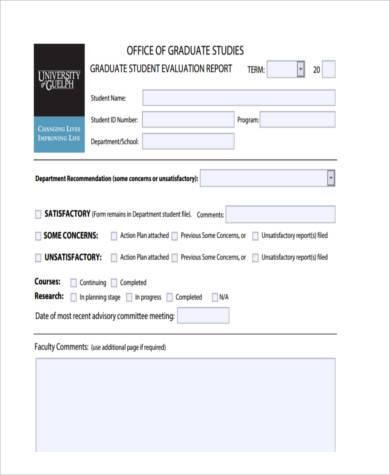 graduate student evaluation report form