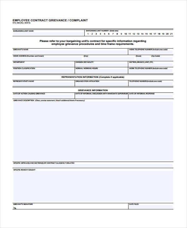 grievance complaint form employee
