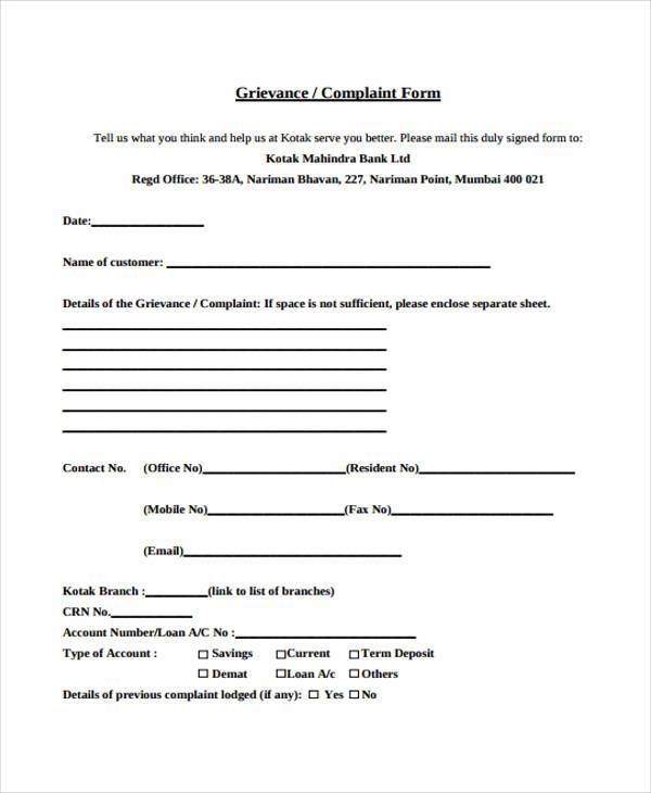 grievance complaint form in doc