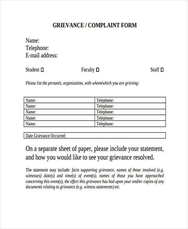 Sample Grievance Complaint Forms - 7+ Free Documents in Word, PDF