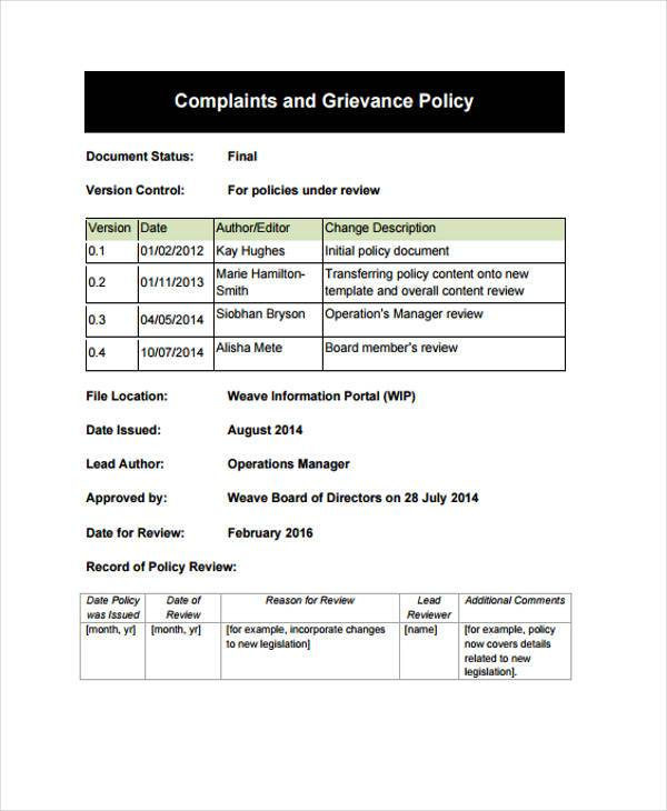grievance policy complaint form