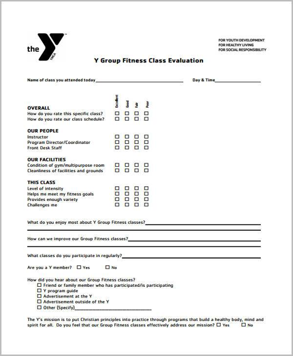 sample fitness evaluation forms