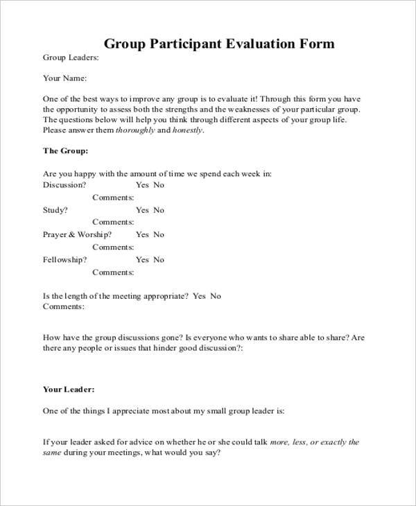 group participant evaluation form example