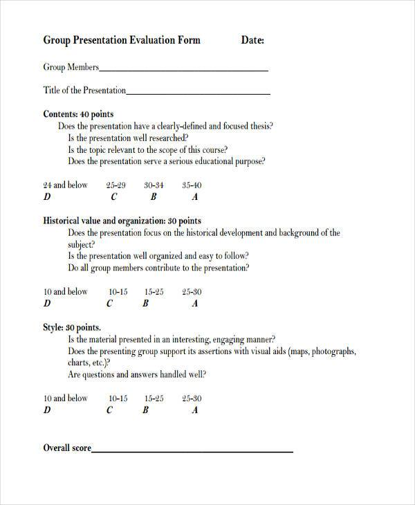 9+ Group Evaluation Form Samples - Free Sample, Example Format