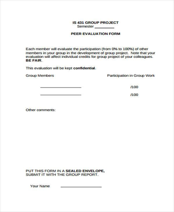 group project evaluation form Peer evaluation form number of points for the group project based on the particular grade that is assigned and the individual evaluation form for peersdoc.