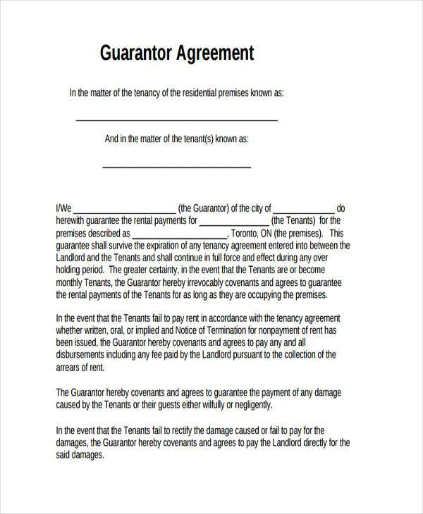 Sample Guarantor Agreement Forms   Free Documents In Word Pdf