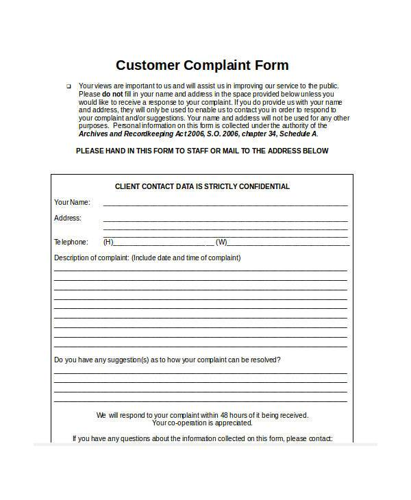 guest complaint form in word format3