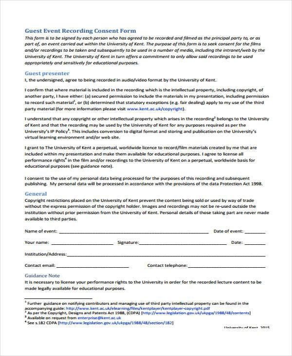 guest event recording consent form