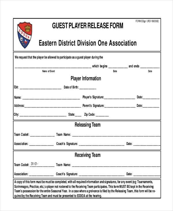 guest player release form in pdf