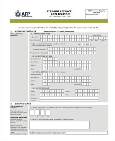 gun licence application form