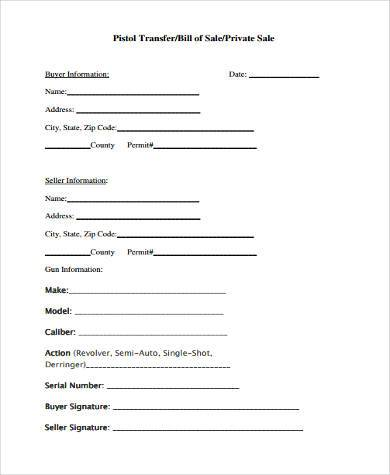 gun pistol sale transfer form