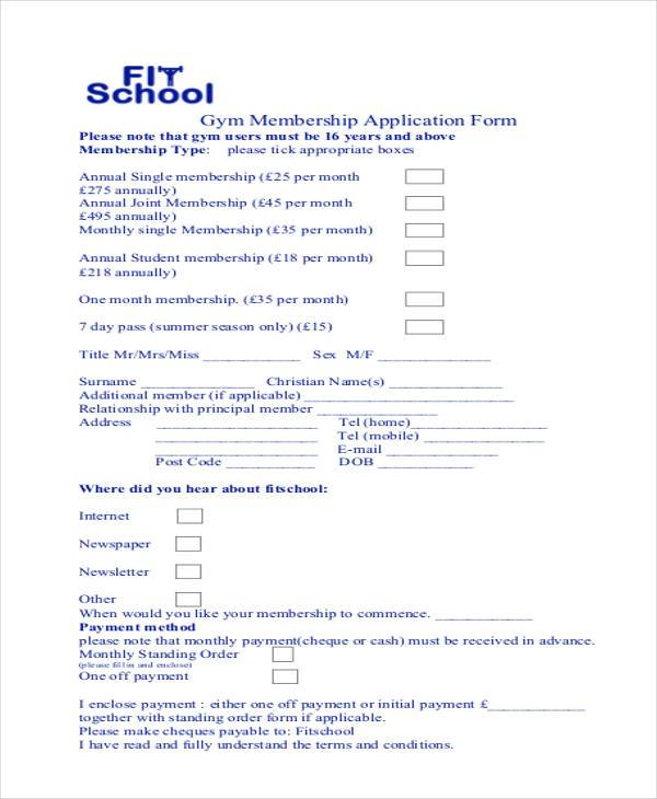 7 membership application form samples free sample example gym membership application form sample thecheapjerseys Images