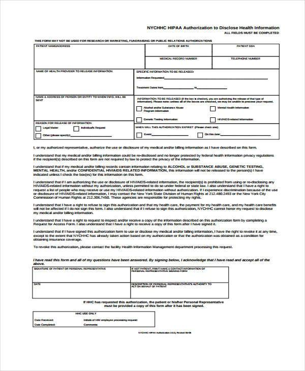 hipaa authorization to disclose health information form