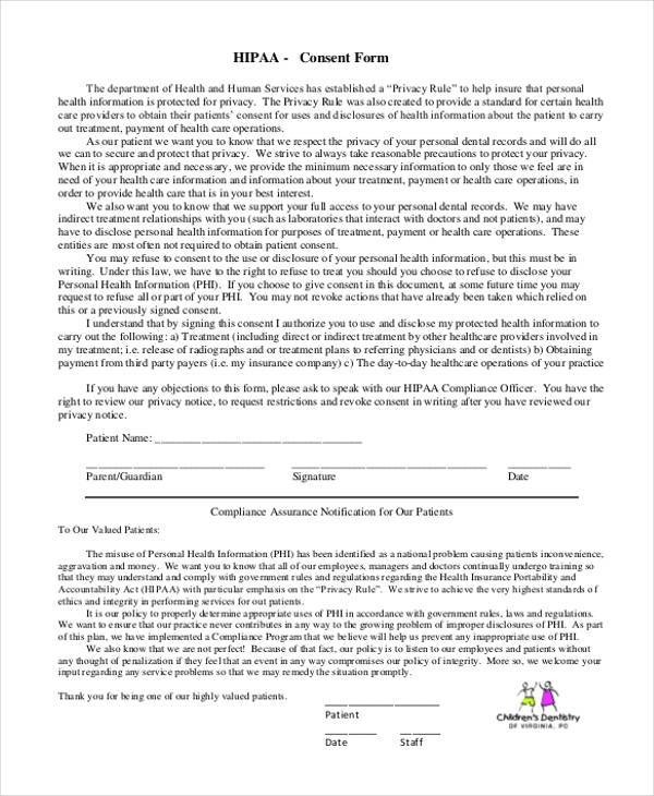 hipaa dental consent form