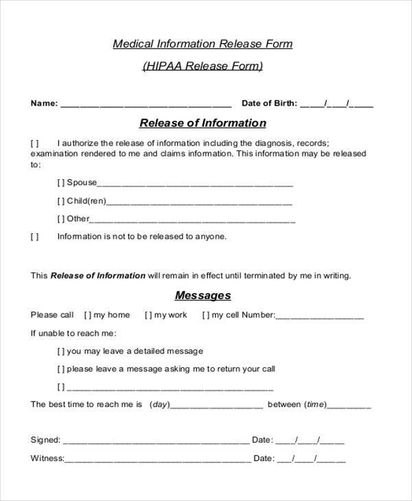 Medical Release Form Samples  Free Sample Example Format Download