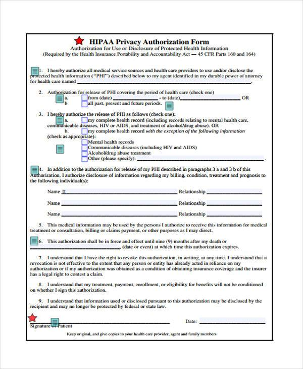 Hipaa Release Form Samples  Free Sample Example Format Download