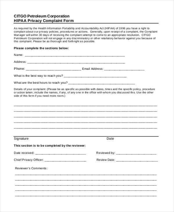 hipaa privacy complaint form