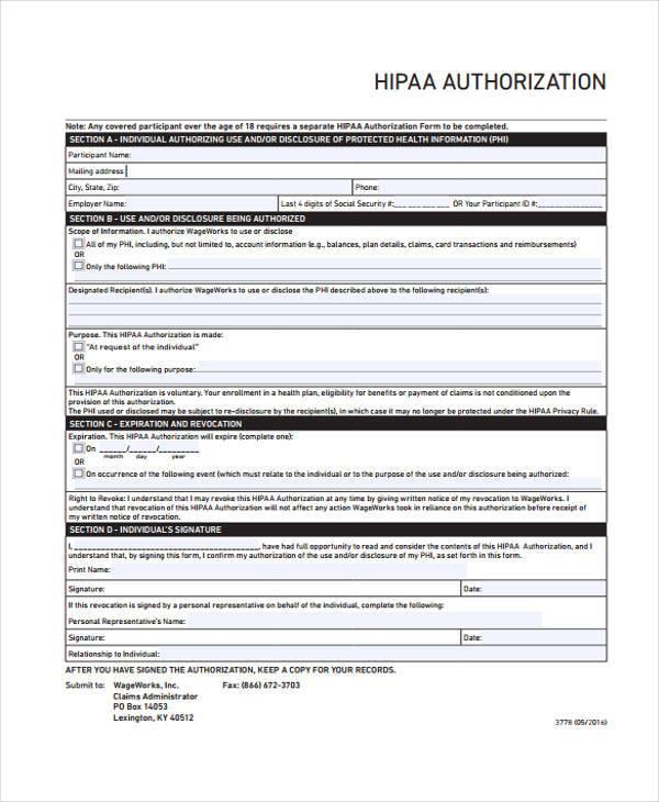 hipaaauthorization form