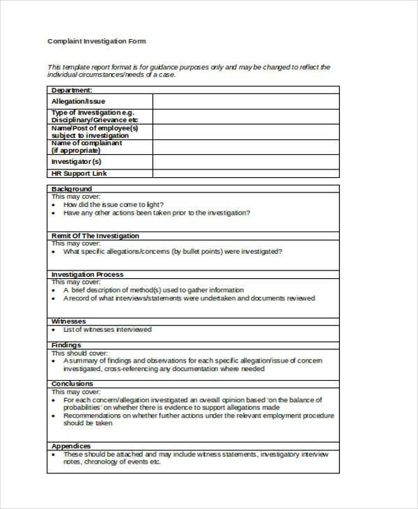 hr complaint investigation form
