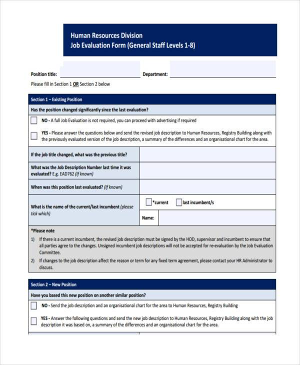HR Division Job Evaluation Form
