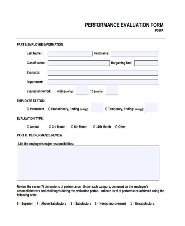 Hr Evaluation Form Samples  Free Sample Example Format Download