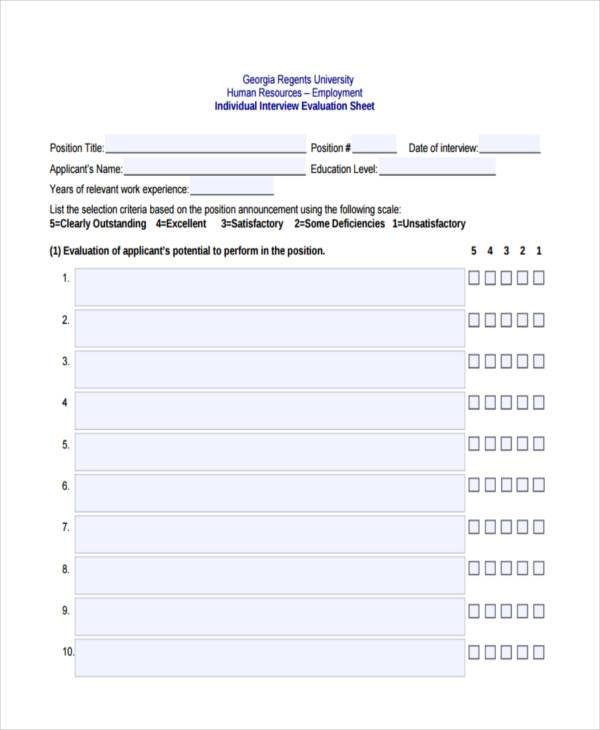 Human Resources Interview Evaluation Form