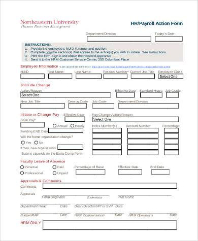 hr payroll action form