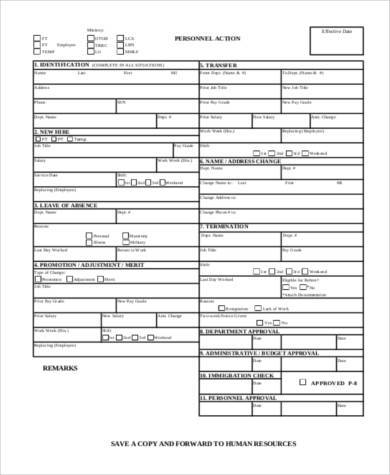 hr personnel action form
