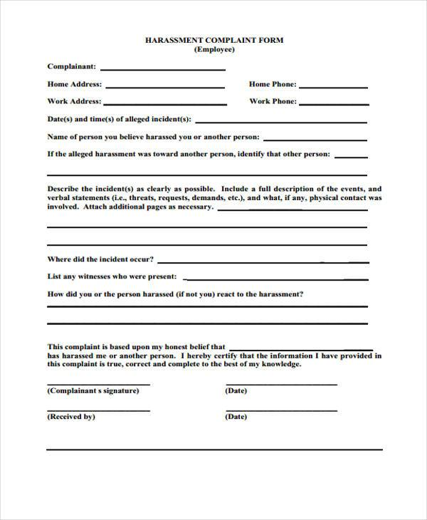 8+ Staff Complaint Form Samples - Free Sample, Example Format Download