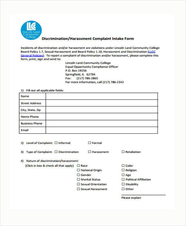 harassment complaint intake form