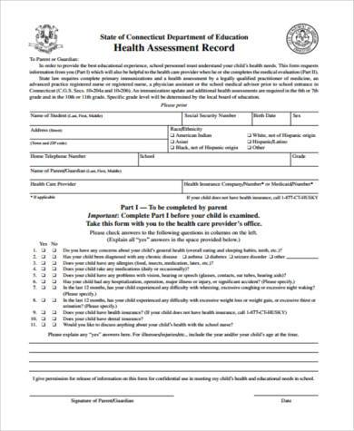 health assessment record form