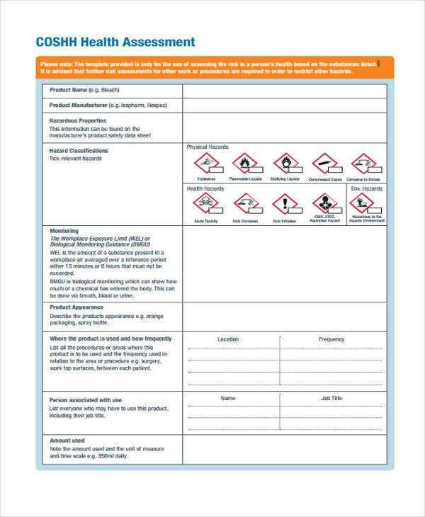 health coshh assessment form