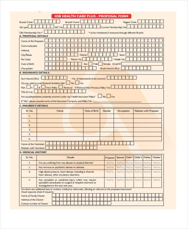 health care plus proposal form