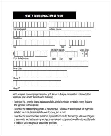 health check consent form