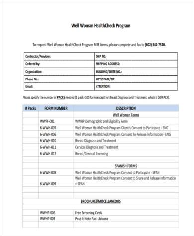 health check form example