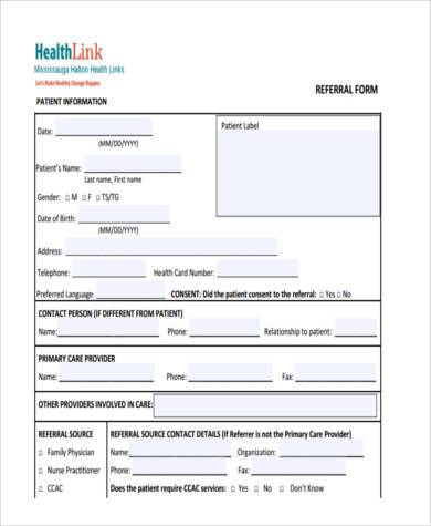 health check referral form