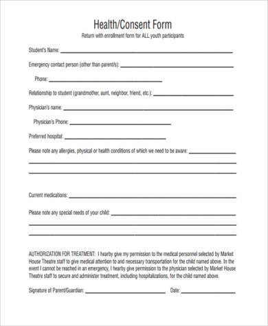 health consent form example