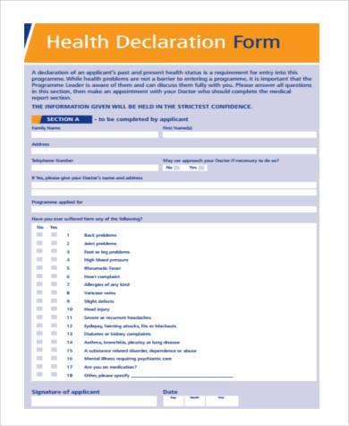 health declaration form in pdf