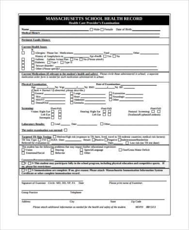 health examination record form