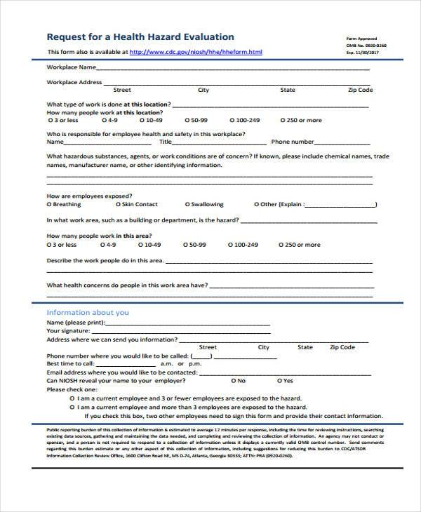 health hazard evaluation form
