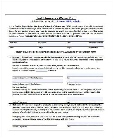 health insurance waiver form1
