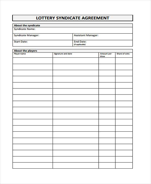 health lottery syndicate agreement form