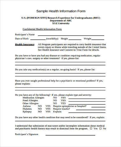 health record form example