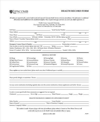 health record form in pdf