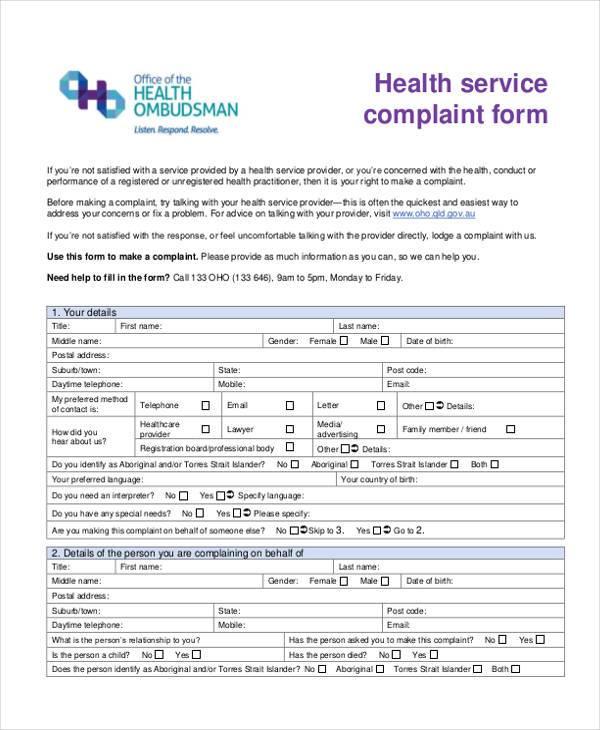 health service complaint form