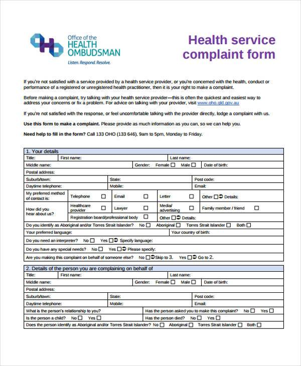 Health Service Complaint Form Sample