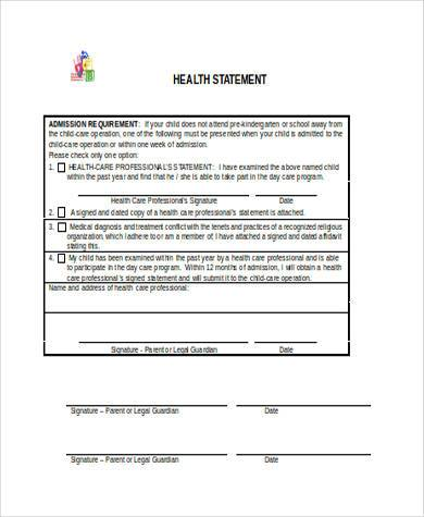 health statement form in word format