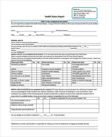 health status report form