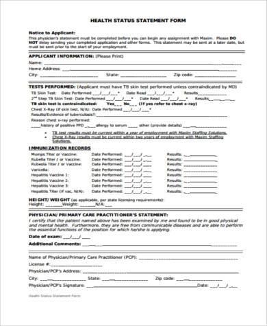health status statement form